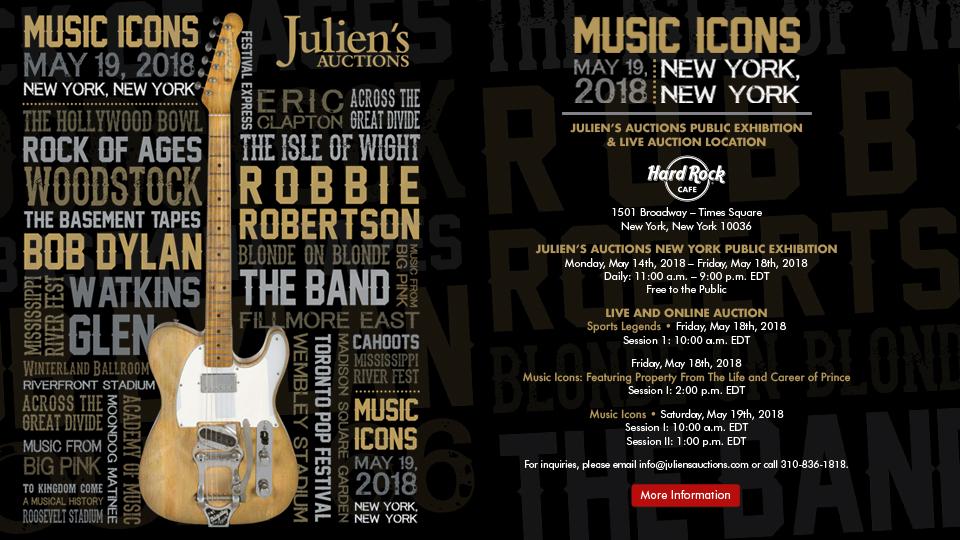 Curiosities : Julien's Auction: Music Icons, vente aux enchères