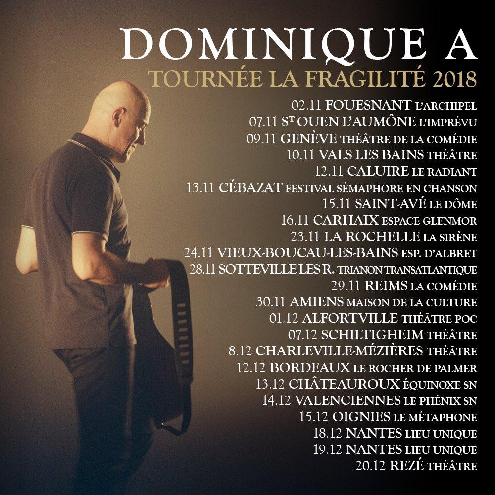 Bientôt En Concert Chez Nous – Dominique A – Tournée – La Fragilité