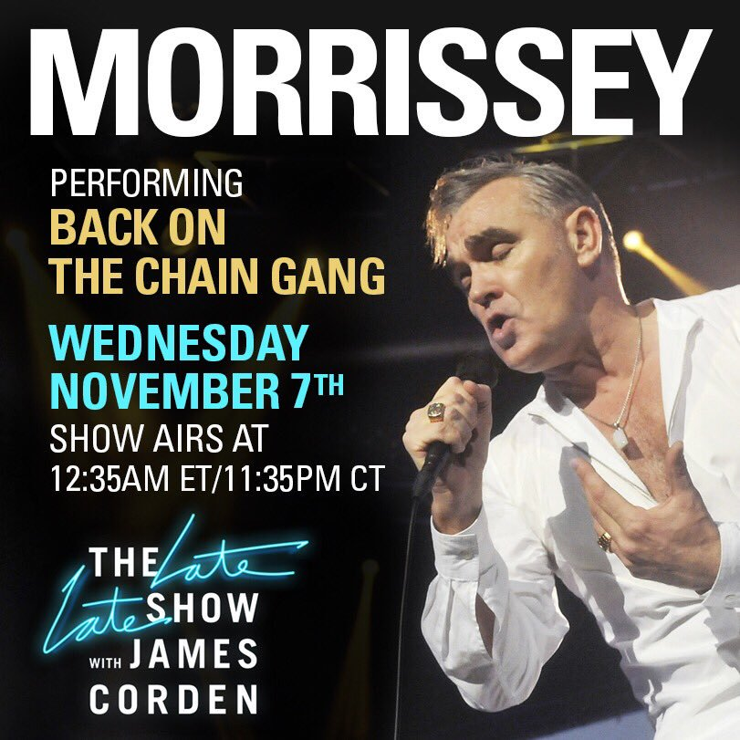 Morrissey – On The Late Late Show with James Corden – 7/11/18