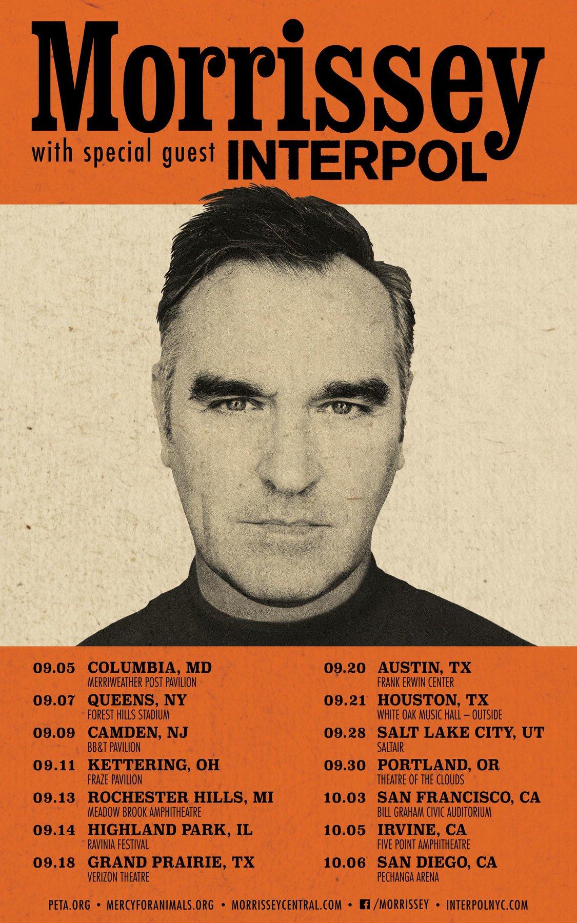 News – Morrissey – En tournée avec Interpol