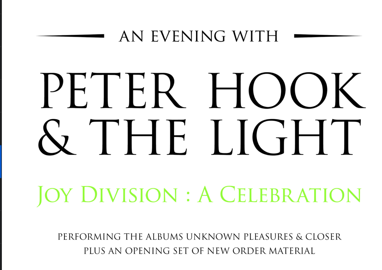 News – Peter Hook – Joy Division: A Celebration