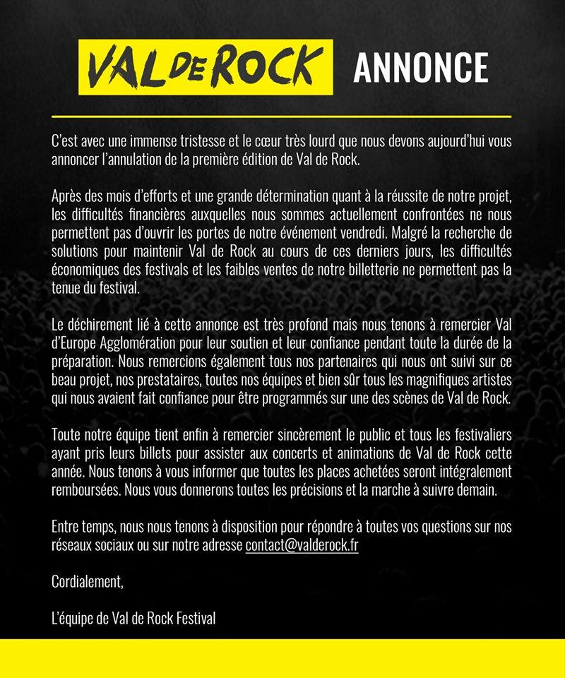 Festival – Festival Val de Rock – Annulation de la première édition 2019