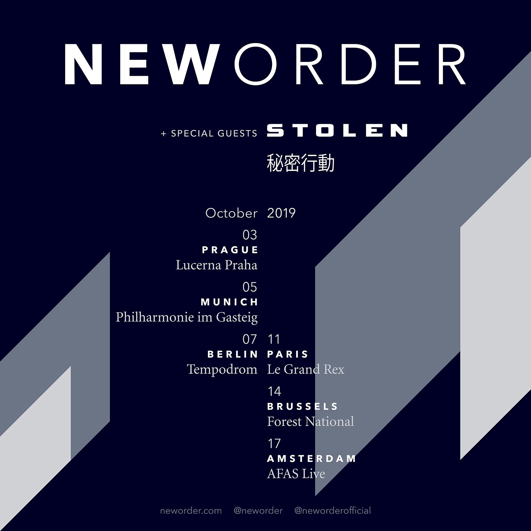 News – Stolen en première partie de la tournée européenne de New Order