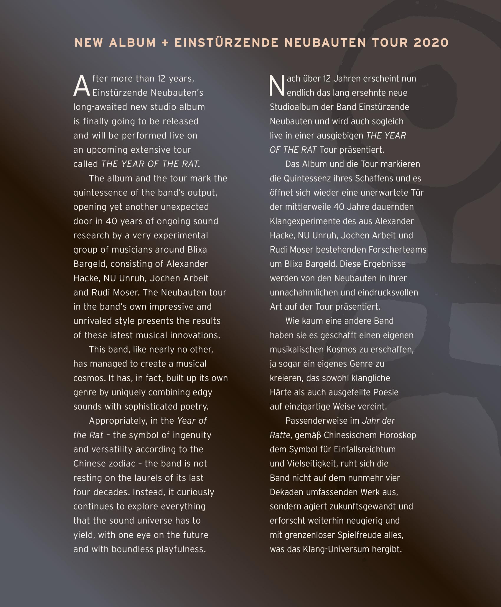 News – Einstürzende Neubauten – The Year Of The Rat