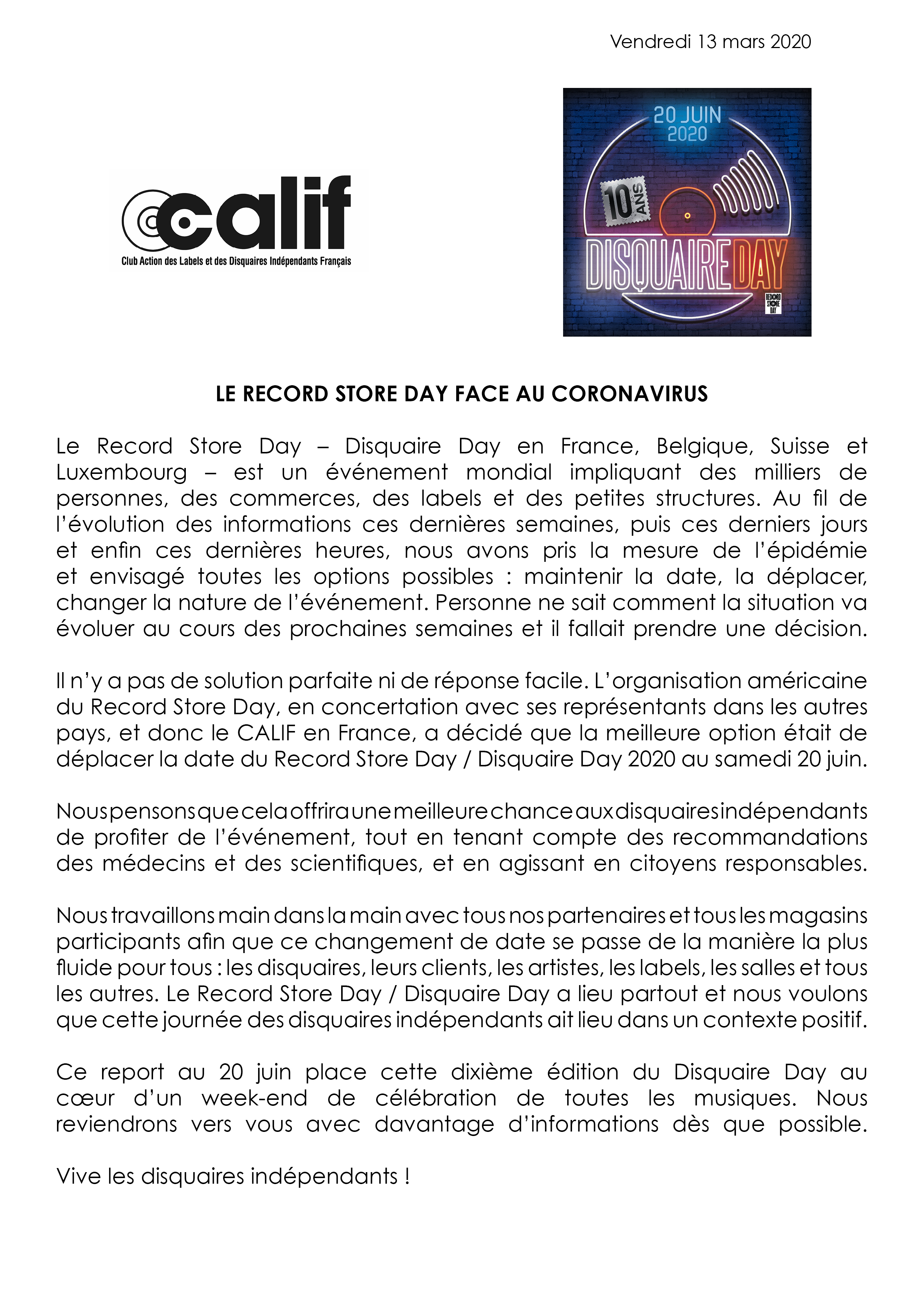 News – Report du Record Store Day / Disquaire Day