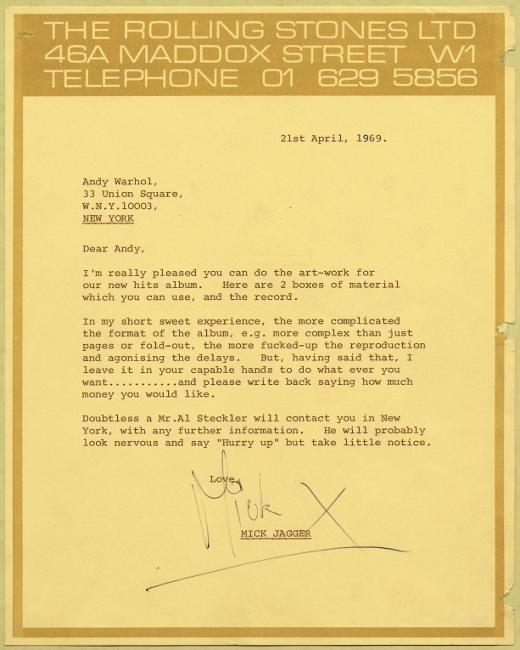 Curiosities – La lettre de Mick Jagger à Andy Warhol – Sticky Fingers
